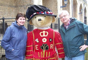 Marge and Pete say hello to Beefeater Bear