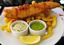 Fish, chips and mushy peas...
