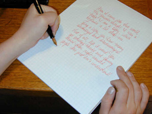 left hand writing