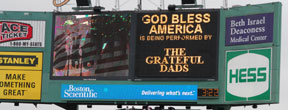 The Grateful Dads on the JumboTron at Fenway Park